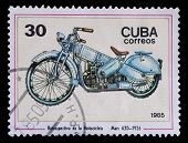 Stamp Printed In Cuba Shows Image Of The Motorcycle