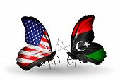 Two Butterflies With Flags On Wings As Symbol Of Relations Usa And Libya
