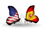 picture of spanish money  - Two butterflies with flags on wings as symbol of relations USA and Spain - JPG