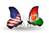Two Butterflies With Flags On Wings As Symbol Of Relations Usa And Niger