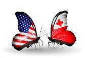 Two Butterflies With Flags On Wings As Symbol Of Relations Usa And Tonga