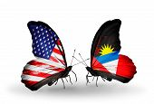 Two Butterflies With Flags On Wings As Symbol Of Relations Usa And Antigua And Barbuda