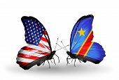 Two Butterflies With Flags On Wings As Symbol Of Relations Usa And Congo