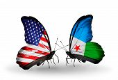 Two Butterflies With Flags On Wings As Symbol Of Relations Usa And Djibouti