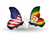 Two Butterflies With Flags On Wings As Symbol Of Relations Usa And Zimbabwe