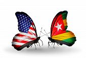 Two Butterflies With Flags On Wings As Symbol Of Relations Usa And Togo