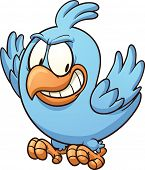 Evil blue bird looking down. Vector clip art illustration with simple gradients.