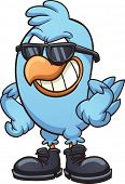 Smug cartoon blue bird wearing shades and boots. Vector clip art illustration with simple gradients. All in a single layer
