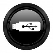 usb black icon flash memory sign