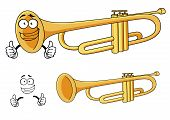 stock photo of trumpets  - Happy smiling brass trumpet cartoon character depicting a rounded wind musical instrument with three piston valves for classical orchestra or music design - JPG