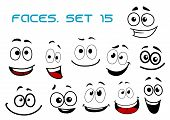 foto of caricatures  - Laughing and toothy smiling funny faces with big googly eyes in cartoon comic style for humor caricature or avatar design - JPG