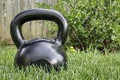 pic of heavy  - heavy iron black kettlebell on green grass in backyard  - JPG
