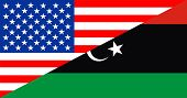 picture of libya  - united states of america and libya half country flag - JPG