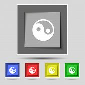 picture of ying yang  - Ying yang icon sign on the original five colored buttons - JPG