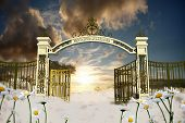 stock photo of gates heaven  - Illustration of the heaven gate in an old illustration - JPG