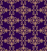 picture of gamma  - Rich decorated mono line style seamless pattern in golden and dark violet gamma - JPG