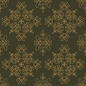 picture of gamma  - Rich decorated calligraphic outlined stroke seamless pattern in dark and gold gamma - JPG