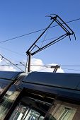 stock photo of bordeaux  - Tramway pantograph in the city of Bordeaux France - JPG