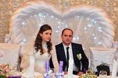 pic of charming  - Charming bride and groom on their wedding celebration in a luxurious restaurant - JPG