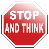 image of wise  - stop think and act making a wise decision sleep it over and use your brain - JPG
