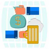 picture of beer mug  - money bag for beer mug of beer with foam head in his hand on a background of beer barrels - JPG
