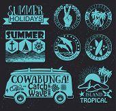 picture of emblem  - Set of Vintage Surfing Graphics and summer  Emblems - JPG