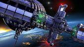 stock photo of spaceships  - Interstellar spaceship with dome core and gravitation wheel - JPG