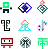 picture of pixel  - Hard lines simple pixel pictogram computer icon set - JPG