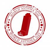 picture of asthma  - illustration of a grungy stamp for World Asthma Day - JPG