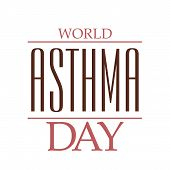 image of asthma  - illustration of colorful stylish text for World Asthma Day in white background - JPG