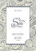 stock photo of beach shell art  - Vintage card with hand drawn sea elements  - JPG