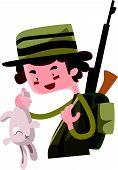 stock photo of hunter  - Hunter shoot wild bunny vector illustration cartoon character - JPG