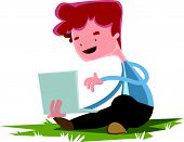 pic of lap  - Young boy with lap top on grass vector illustration cartoon character - JPG