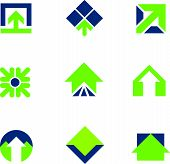 foto of going out business sale  - Going green for natural business success arrow up logo icon - JPG