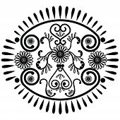picture of henna tattoo  - Oval pattern inspired by Asian culture and henna tattoo elements - JPG