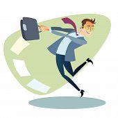 pic of competition  - Businessman throws the briefcase like a hammer The topics of business through images of sport and athletes in the competition - JPG