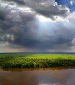 stock photo of rain cloud  - landscape with storm clouds - JPG