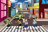 image of pedestrian crossing  - A vector illustration of kids using the pedestrian lane while crossing the street - JPG