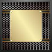 stock photo of plaque  - golden plaque on black textured panel  - JPG