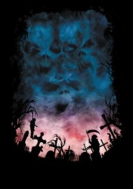 picture of horror  - Illustration horror background with silhouettes or cemetery crosses trees statue and a hanged vampire - JPG