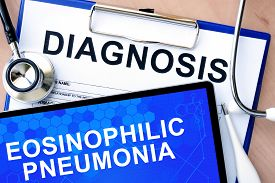 stock photo of pneumonia  - Form with word  diagnosis and tablet with Eosinophilic pneumonia - JPG