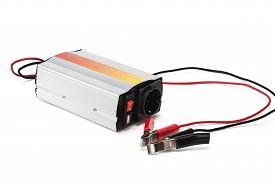 pic of inverted  - Car Power Inverter Isolated on white background - JPG