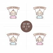 ������, ������: Vector babies with I love Mommy and Daddy ribbons Baby shower set