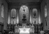 Black And White Image Of An 18Th Century Mission Church