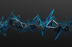 image of pyramid shape  - Abstract 3d rendering of chaotic structure - JPG