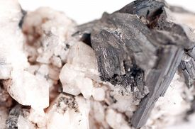 image of calcite  - manganese or manganite mineral sample with quartz and calcite - JPG