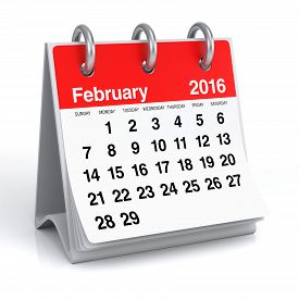 stock photo of february  - February 2016 Spiral Calendar - JPG