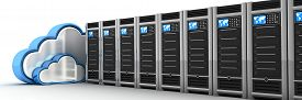 pic of intranet  - Server row and cloud  - JPG