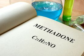 picture of methadone  - Paper with methadone and test tubes on a table - JPG