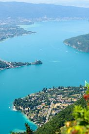 stock photo of annecy  - the Aerial view of Lake of Annecy - JPG